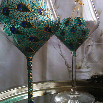 CRYSTAL SET of 2 Hand Painted wine glasses Peacock  theme in peacock blue and gold