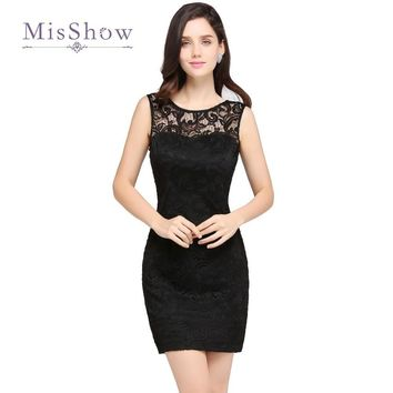 Elegant Little Black Short Cocktail Dresses Jewel Neck Full Lace Sleeveless V Shape Backless Prom Gowns