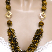 Tiger Eye Bead Cluster Necklace Gold Metallic Clover Accents Handmade