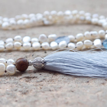 Bohemian pearl tassel necklace Boho rhinestone Sterling silver persian style pave charm Blue chalcedony beaded white mala Light grey tassel