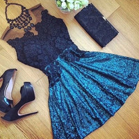 Womens Dresses New Arrival 2016 Summer Style Club Sequin Mesh Black Lace Party Dress Brazil Vestidos De Fiesta Largos Elegantes