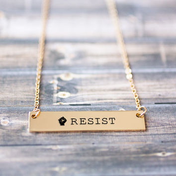 Resist Gold / Silver Bar Necklace