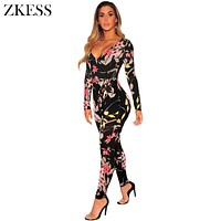 ZKESS Women Floral Print Jumpsuits with Faux Waistbelt Long Sleeve Sexy V Neck Skinny Fitted Stretchy Club Playsuits LC64357