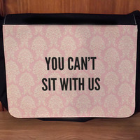 Mean Girls inspired You can't sit with us Messenger Bag book bag Laptop bag w/ interchangeable designs Pink Damask Pattern