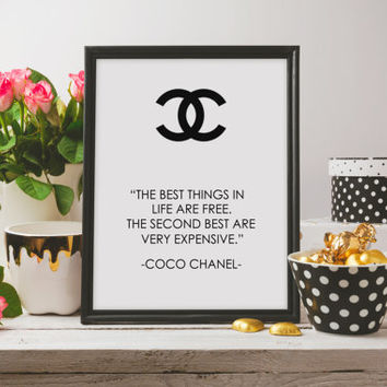 "Printable Poster, PRINTABLE Art ""The Best Things in life are free"",Coco Chanel print,Chanel quote,Instant Digital Download"