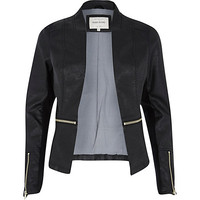 River Island Womens Black zip around leather-look fitted jacket