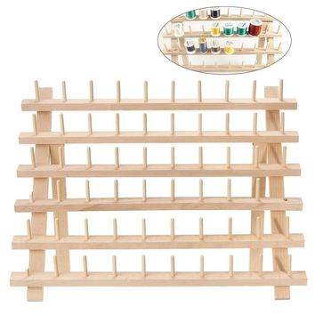 Foldable Wood Thread Organizer for 60 Spools or Cones