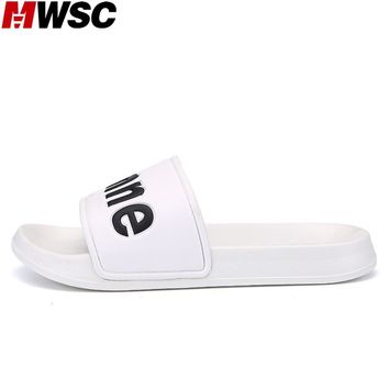 MWSC 2017 Summer New Men's PU Sole Casual Slippers Shoes Black White Male Fashion Letter Printed Leisure Slides Beach Shoes