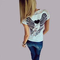 Back Hollow Angel Wings T-shirt Tops Summer Style Woman Lace Short Sleeve Tops T shirts Clothing-0412