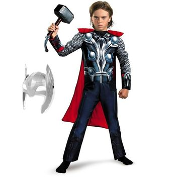 Cool SuperHero Kids Muscle Thor Cosplay Costumes Clothes With Harmmer Avengers Child Super Hero Halloween Costumes Children's DayAT_93_12