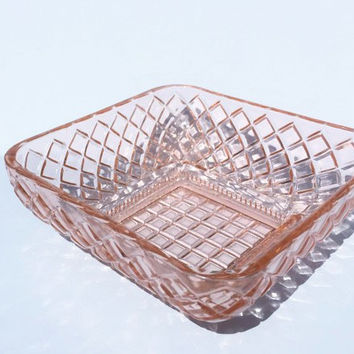Pink Depression Glass Square Bowl, Basketweave Glass Bowl