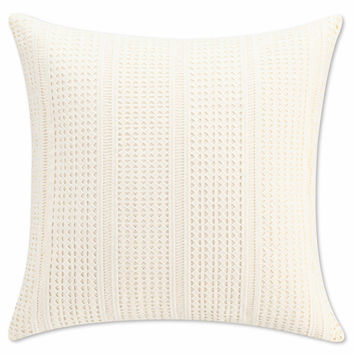 Cupcakes and Cashmere Scattered Hearts Geometric Lace Square Throw Pillow in White