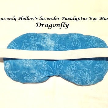 Eye Mask Lavender Eucalyptus, Sinus, Herbal Pack, Hot Cold Pack, Heat Wrap,Organic, Flax Seed, Microwave Therapy,Dragonfly