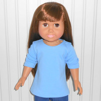 18 inch Girl Doll Clothes Blue Shirt Cotton Knit Tee Shirt American Doll Clothes