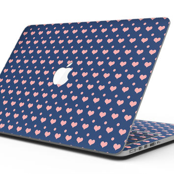 Coral Micro Hearts and Dots Over Navy - MacBook Pro with Retina Display Full-Coverage Skin Kit