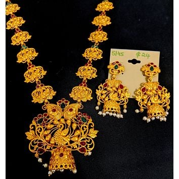 Peacock design orangish matte gold long haram Necklace and Earring set