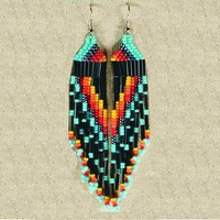 Indian Native American Earrings Turquoise and Black