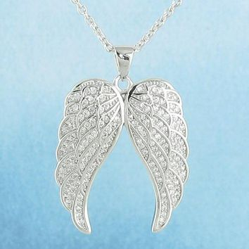Sparkling Pair of Angel Wings Necklace