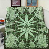 Leaves & Buds Blanket - Soft Fuzzy Warm CannaThrows