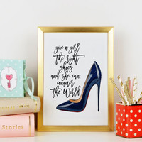 Give A Girl The Right Shoes MARILYN MONROE QUOTE Graduation Gifts for Women Christian Louboutin Shoes  Dorm Decor Fashion print Wall artwork