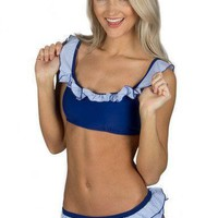 Blue Seersucker Ruffle Bikini Top by Lauren James - FINAL SALE
