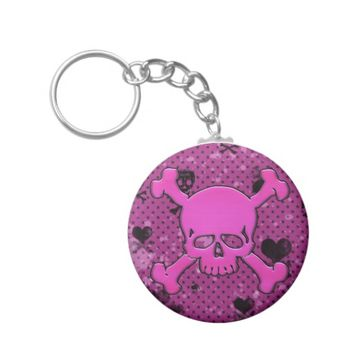 Girly Pink and Black Skull And Crossbones Keychain