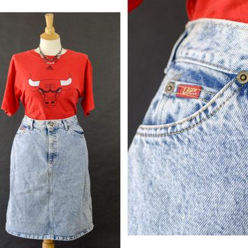 Vintage Lee Denim Skirt, 80s Acid Wash Denim Jean Skirt, High Waisted Knee Length Skirt, 80s Stone Washed Denim Jean Skirt, Women's Size 12