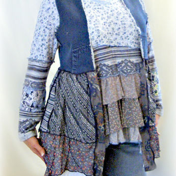 Lagenlook Vest, Bohemian Vest, Upcycled Clothing, Denim Vest