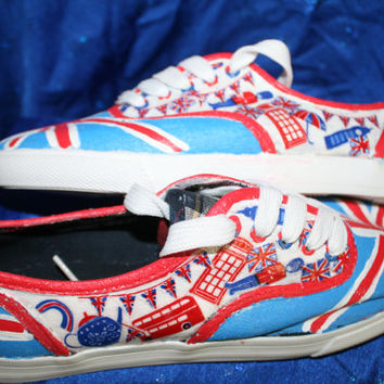 One Direction painted Shoes and Fabric Decoupage, Woman's Size 7 Sale, Back to school