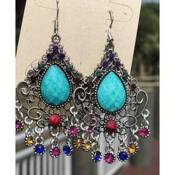 Silver large turquoise gem dangle