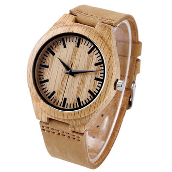 Fashion Wooden Light Quartz Wrist Watches with Leather Bracelet Khaki Bamboo Watch for Men Women relojes de pulsera