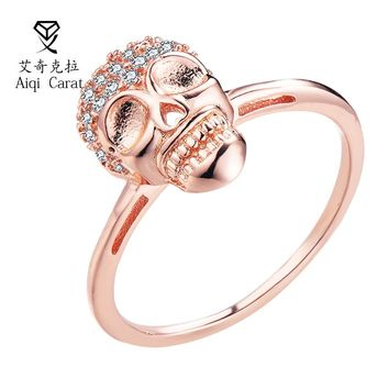 AIQICARAT Punk Rock Style Golden CZ Zircon Ring for Mens Womens Fashion Chunky Finger Bling Hip Hop Party Ring of Skulls Rings
