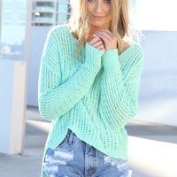 SABO SKIRT  Long Back Knit - Mint - $52.00
