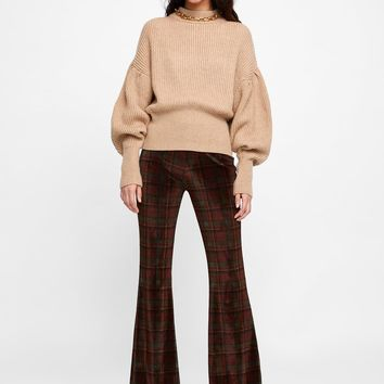 PLAID TEXTURED WEAVE PANTS DETAILS