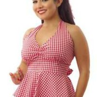 Women's Pinky Pinups Checkered Apron Halter Top Retro Rockabilly Pinup