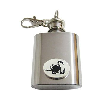 Black Scorpion 1 Oz. Stainless Steel Key Chain Flask