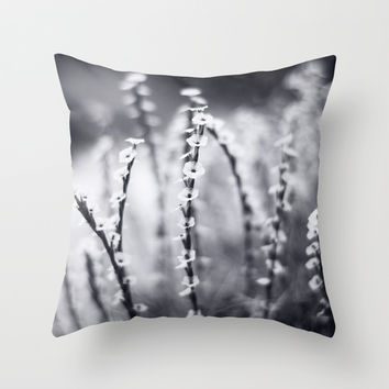 Paper Flowers in Black and White Throw Pillow by Katie Kirkland