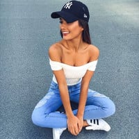 Fashion  Off Shoulder Short Sleeve Solid Color T-shirt Crop Tops