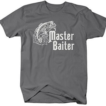 Shirts By Sarah Men's Funny Fishing T-Shirt Master Baiter Offensive Shirts