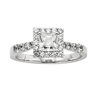Diamonore Princess-Cut Simulated Diamond Halo Engagement Ring in Sterling Silver (1 1/2 ct.) (White)