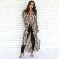 Walking On A Dream Stripe Long Dust Cardigan