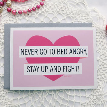 Funny Wedding Card, Card for Bridal Shower, Wedding Advice, Marriage, Quote, Mae West