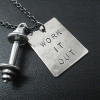 WORK IT OUT Barbell Necklace - Workout Necklace on 18 inch Gunmetal chain or Stainless Steel Ball chain - Unisex Workout