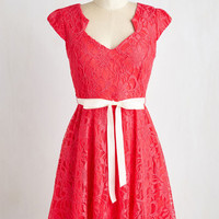 Short Length Cap Sleeves Fit & Flare Sweet Staple Dress in Scarlet by ModCloth