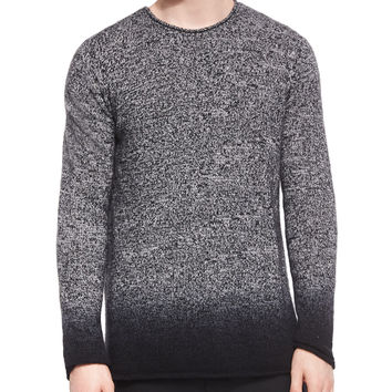 Cashmere Marled Dip-Dyed Crewneck Sweater, Black, Size: