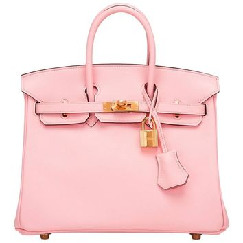 Hermes Rose Sakura Swift Birkin 25cm Gold Hardware