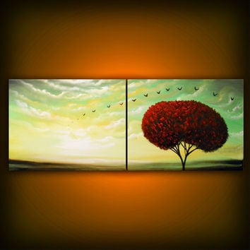cloud painting tree painting large landscape abstract by mattsart
