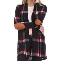 Blue Plaid Elbow-Patch Open Cardigan
