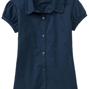 Old Navy Girls Uniform Ruched Sleeve Tops