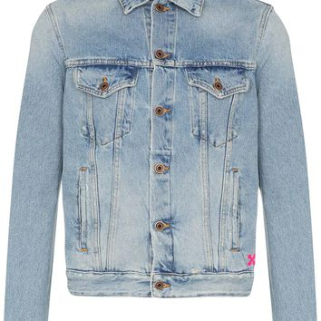 Light Blue Spray Paint Denim Jacket by OFF-WHITE